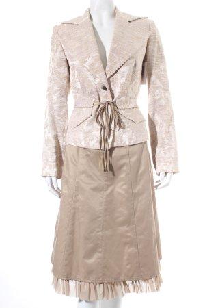 Miss H. Kostüm beige Ornamentenmuster Schimmer-Optik