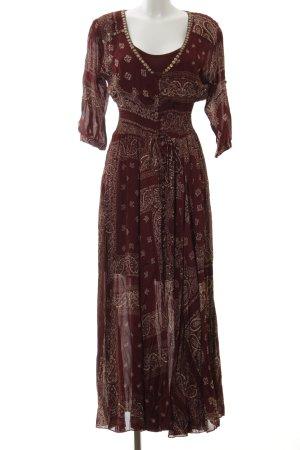 Miss June Kurzarmkleid braun-creme florales Muster Gypsy-Look