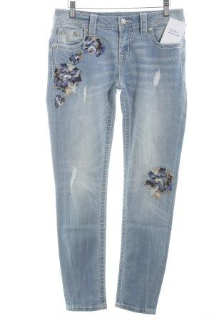 Miss Me Slim Jeans kornblumenblau-himmelblau Blumenmuster Casual-Look