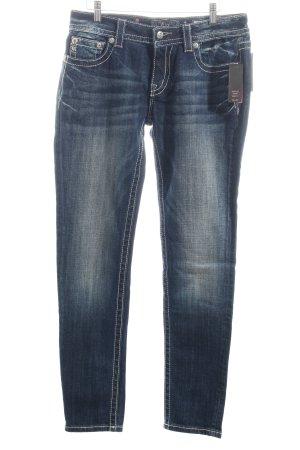 Miss Me Straight-Leg Jeans dunkelblau-wollweiß Used-Optik