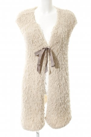 Miss Miss by Valentina Long Knitted Vest cream fluffy