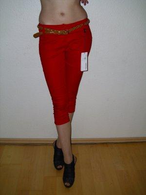 Miss Miss Capri Hose in rot mit Gürtel Gr. 34 (XS)