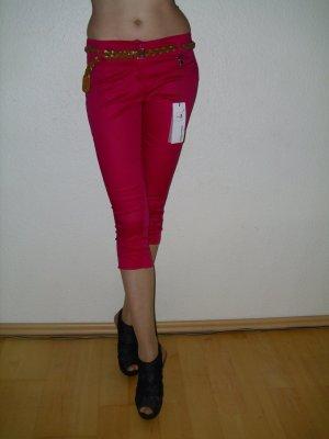Miss Miss Caprihose Hose in pink mit Gürtel Gr. 36