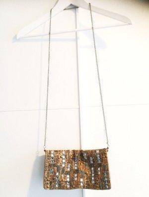 Miss Selfridge gold nude farbene Pailetten Tasche crossover clutch