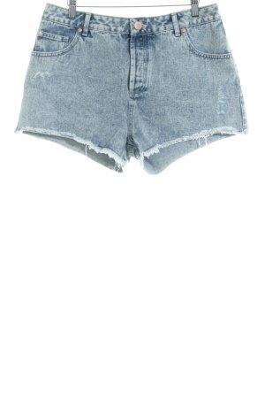 Miss Selfridge Denim Shorts slate-gray flecked beach look
