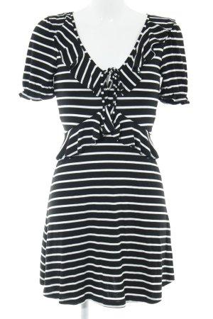 Miss Selfridge Vestido de tela de jersey negro-blanco estampado a rayas