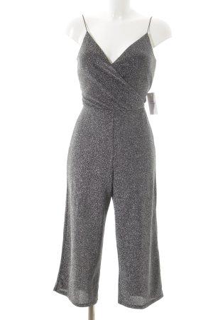 Miss Selfridge Jumpsuit silberfarben-schwarz Glitzer-Optik