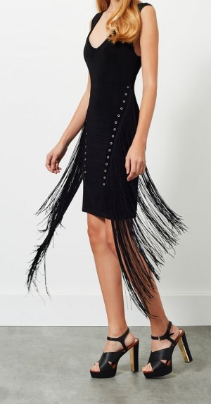 Miss Selfridge Kleid schwarz mit Frazeln Neu Gr 44