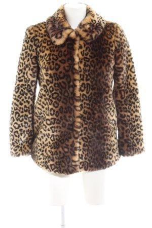 Miss Selfridge Fake Fur Coat leopard pattern casual look