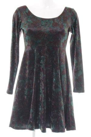 Miss Selfridge Langarmkleid dunkelgrün-braun Farbtupfermuster Casual-Look