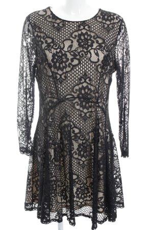 Miss Selfridge Langarmkleid schwarz-creme florales Muster Elegant