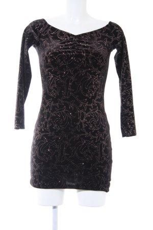 Miss Selfridge Langarmkleid schwarz Ornamentenmuster Elegant