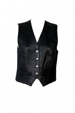Miss Selfridge Leather Vest black leather