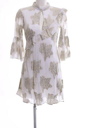 Miss Selfridge Minikleid weiß-goldfarben Blumenmuster Glitzer-Optik