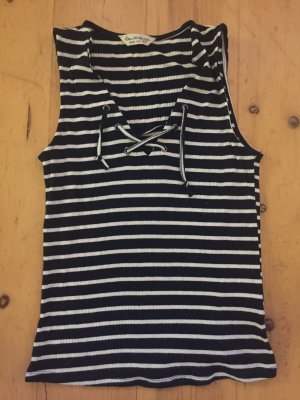 Miss Selfridge Oberteil Shirt binden Gr. S 36 gestreift weiß blau