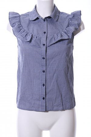 Miss Selfridge Ruffled Blouse blue-white check pattern business style