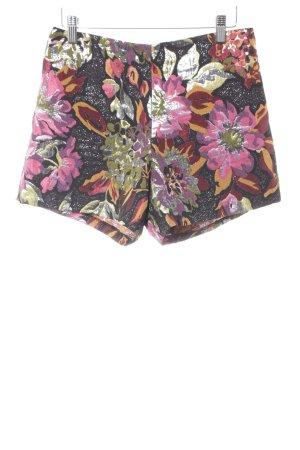 Miss Selfridge Shorts schwarz florales Muster Glanz-Optik