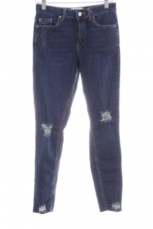 Miss Selfridge Skinny Jeans dunkelblau Destroy-Optik