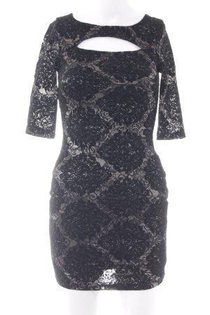 Miss Selfridge Spitzenkleid schwarz-hellbeige florales Muster Elegant