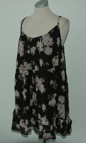 Miss Selfridge Träger Top schwarz + Blumen Chiffon gerüscht UK 14 EUR 42