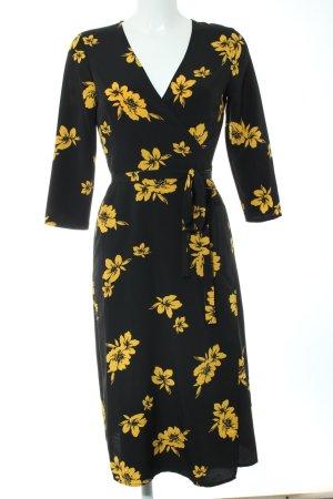 Miss Selfridge Robe portefeuille noir-jaune primevère motif de fleur
