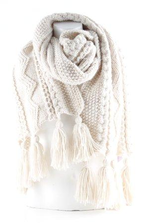 Miss Selfridge Bufanda de lana beige claro punto trenzado mullido