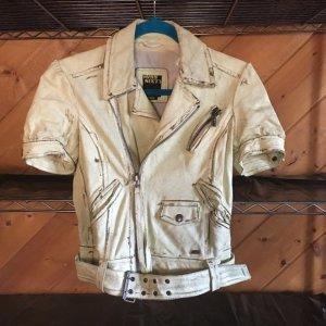 MISS SIXTY  100% Leder Jacke/ kurz Arm/neu Used look Leather Distressed Moto jacket  sz M