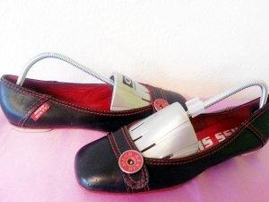 Miss Sixty Peep Toe Ballerinas black leather