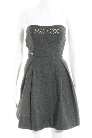 Miss Sixty Vestido bandeau gris oscuro-negro estampado de zigzag estilo fiesta