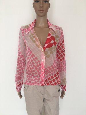 Miss  sixty Bluse Top Deep V Kragen Knöpfe rot pink rosa weiß Punkte gepunktet Retro cool edel