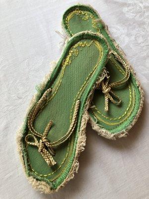 Miss Sixty Flip Flops neuwertig grün gold gelb
