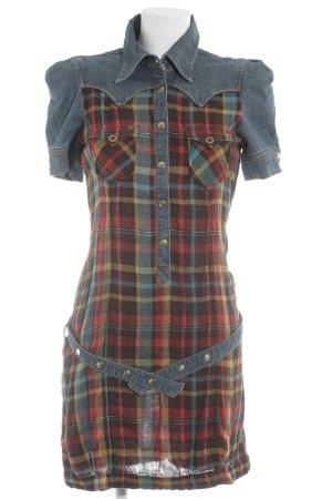 Miss Sixty Hemdblusenkleid Karomuster Jeans-Optik