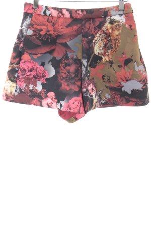 Miss Sixty High-Waist-Shorts bordeauxrot-ocker abstrakter Druck Casual-Look
