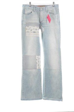 Miss Sixty Jeans a zampa d'elefante blu-bianco motivo floreale