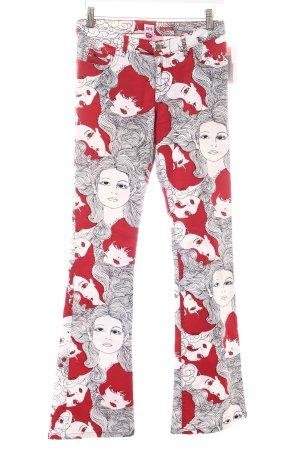 Miss Sixty Jeansschlaghose rot-weiß Allover-Druck extravaganter Stil