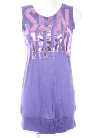 Miss Sixty Jerseykleid rosa-blauviolett Schriftzug gedruckt sportlicher Stil