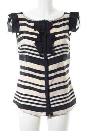 Miss Sixty Kurzarm-Bluse schwarz-creme Streifenmuster Business-Look