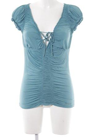 Miss Sixty Kurzarm-Bluse kadettblau Rüschenbesatz