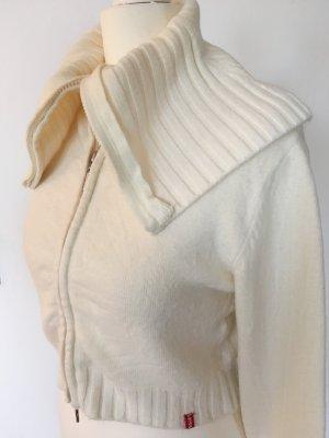 Miss Sixty Kurze Strickjacke XS 32 34 Cardigan Crop Top Bolero Sweater Weiß Nude Feinstrick Pulli