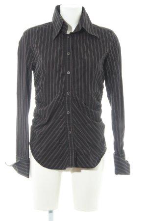 Miss Sixty Langarm-Bluse schwarz Nadelstreifen Elegant