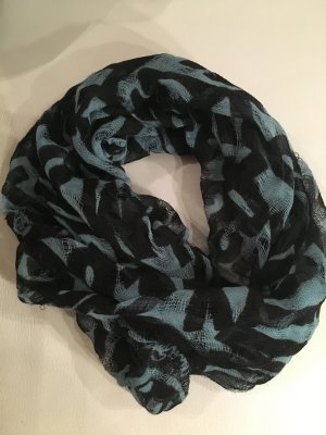 MISS SIXTY leichter Schal mit Buchstabendruck, schwarz mit blau, wie NEU