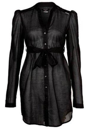 MISS SIXTY Long Bluse Tunika Chiffon Top transparent schwarz – XS