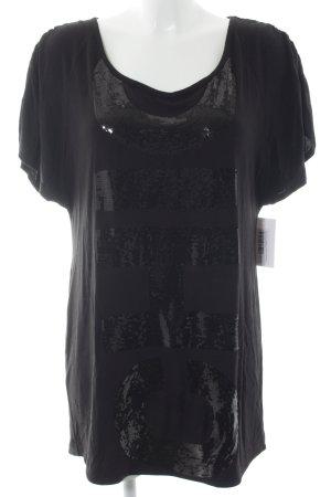Miss Sixty Longshirt schwarz Schriftzug gestickt Casual-Look