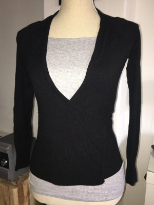 Miss Sixty Cache-cœur en tricot noir-rouge foncé