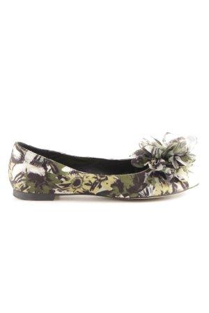 Miss Sixty Peep Toe Ballerinas green flower pattern casual look