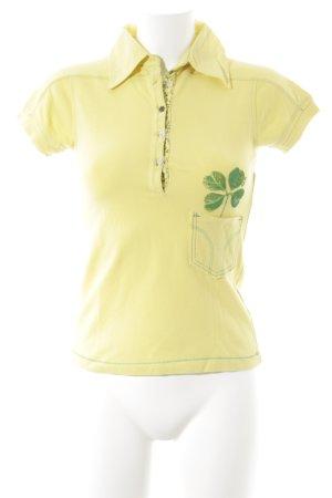 Miss Sixty Camiseta tipo polo amarillo-verde estampado floral estilo deportivo