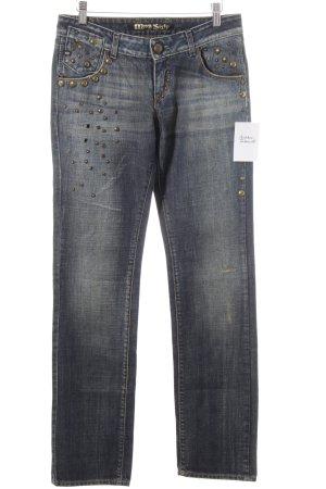 Miss Sixty Straight-Leg Jeans dunkelblau-hellbeige extravaganter Stil