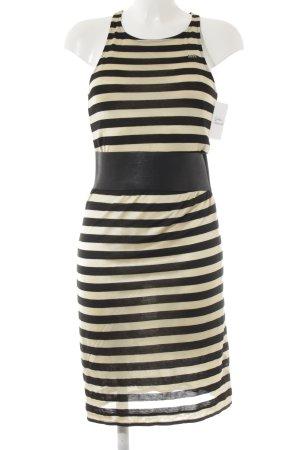 Miss Sixty Stretchkleid creme-schwarz Streifenmuster Casual-Look