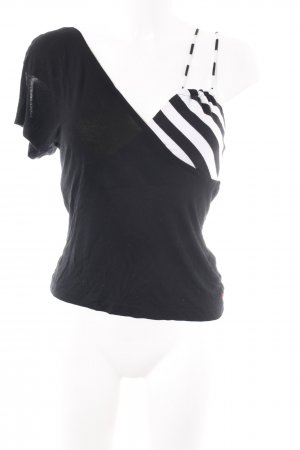 Miss Sixty T-Shirt schwarz-weiß Streifenmuster Casual-Look