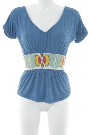 Miss Sixty T-Shirt stahlblau florales Muster Beach-Look